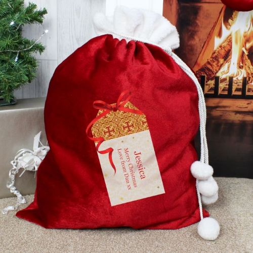 Gift Tag Luxury Pom Pom Sack